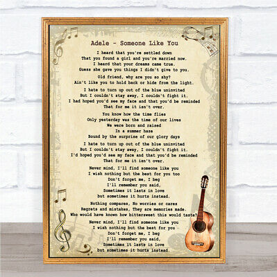 Someone Like You Song Lyric Vintage Quote Print
