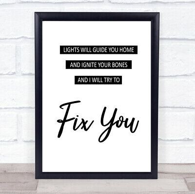 Fix You Song Lyric Quote Print