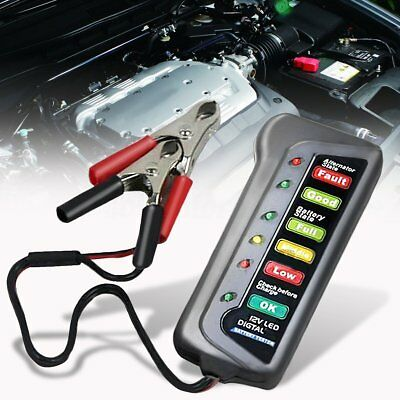 Car 12V Digital Battery Tester Two Clip Alternator 6 LED Display Indicator GT