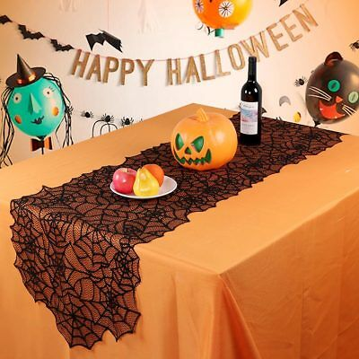 Gothic Black Lace Spider Web Table Runner Halloween Dinner Party Home Decoration