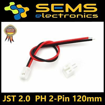 Micro JST 2.0mm PH 2-Pin Connector Plug With Wires Cables 120mm Neu