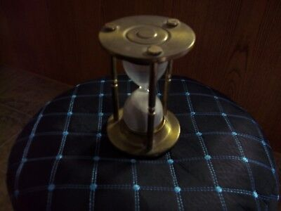 VINTAGE BRASS HOUR GLASS ANTIQUE Made In England - Sand Clock Timer