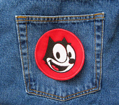 FELIX the CAT Head Iron On Sew On Embroidered Patch Black White Red Round PATCH