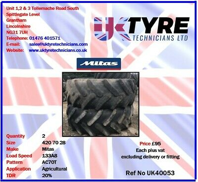 420 70 28 Used Part Worn Agricultural Tractor Tyres UK40053