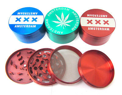 Extra Large 80mm Tobacco Grinder Dry Herb Crusher Amsterdam 4 Part