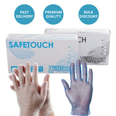 1000 Disposable Powder Free Clear & Blue Vinyl Gloves Food Medical Surgical