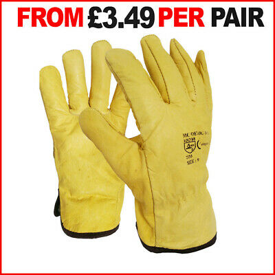 5 Pairs Leather Driver Gloves | Full Fleece Lined | Work Lorry Drivers