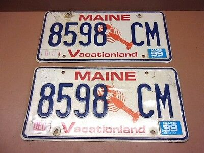 Vintage PAIR of 1999 MAINE LOBSTER LICENSE PLATES Tag # 8598 CM Nice Old Pair!