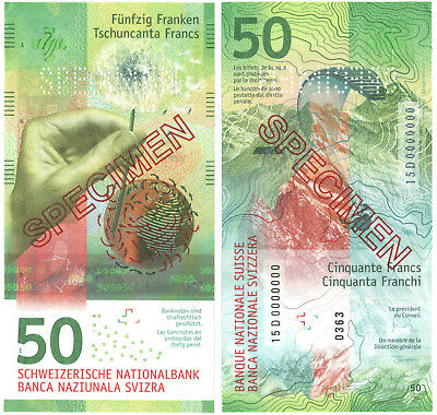 Rare Specimen Switzerland 50 Franks P New 2015/6 UNC