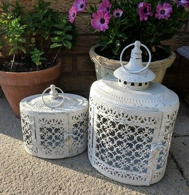 Set of Two White Oval Style Large Garden Lantern Candle Holder Indoor Outdoor
