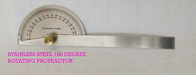 Stainless Steel Rotating 180 Degree Protractor / Angle Measurer Metric Ruller