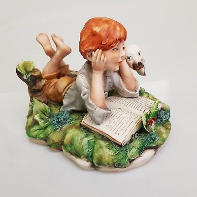 Vintage Capodimonte Figurine Small Boy or Girl + Dog Reading - Signed
