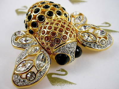 Signed Swarovski Crystal Gold Pave' Bee Pin~Brooch Very Rare Retired New  W Tags