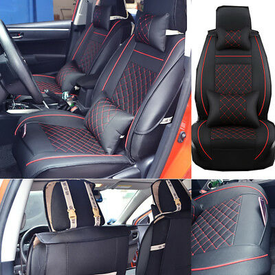 US 2x Universal Car SUV Front PU Leather Seat Covers Cushions w/Neck Pillows Set