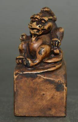 The Republic of China Old Clay Burn Seal Hand Carved Beast Statue Stamp