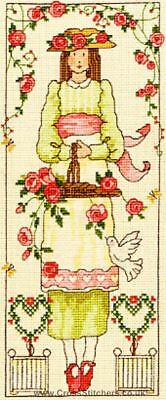 BOTHY THREADS 12x29cm Counted CROSS STITCH 14 Count Kit COUNTRY LASS : ROSE