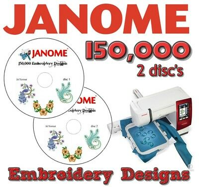 Janome Embroidery Jef Files Cards Machine Designs Collection 150,000 2 Cd Disc