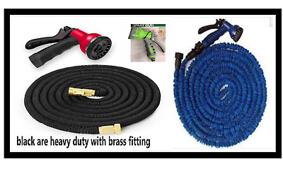 Expandable Garden Hose Pipe Expanding 6/8 Way Spray Gun Heavy Duty 50FT TO 200FT