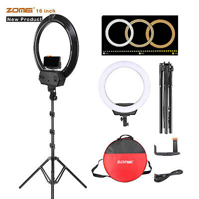 """ZOMEI 18"""" LED Photography Ring Light Dimmable 5500K Lighting Photo Video Camera"""