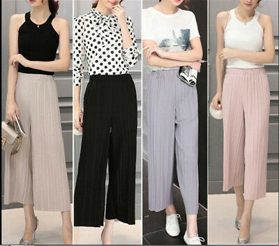Womens Trendy Long Loose Pants Pleated Chiffon Wide-leg Casual Trousers=Culottes