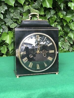 Smiths Black Lacquer Mantle Clock, Floating Balance, Working