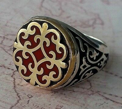 Turkish Ottoman  Authentic  Enamel Solid 925 Sterling Silver Men Ring Gemstone