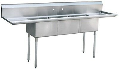 """Commercial Three Compartment Sink 3 bay sink with drainboards SS sink 90"""""""