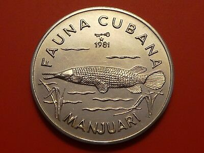 World coin 1 Peso, 1981 ,  Giant Gar , Fish coin, Only 5,000 Mint UNC