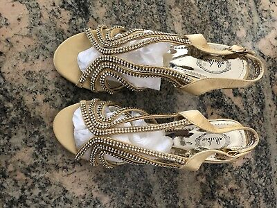 9bc306aa52017 New Formal Evening Women s shoes- Gold Satin W Rhinestones Sandals Size 11