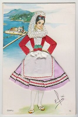 POSTCARD - novelty applied fabric dress postcard, Spanish lady, Corfu Spain