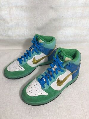 outlet store 3d725 3ac2c Nike Dunk High Lace Edition 08 Men s Fashion Hi-Tops Green Blue Gold White  Sz