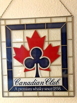 Vintage Canadian Club stained glass sign Ad / man cave / bar decor