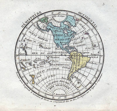 Hémisphère Occidental 1800 Karte World map carte Weltkarte America Canada