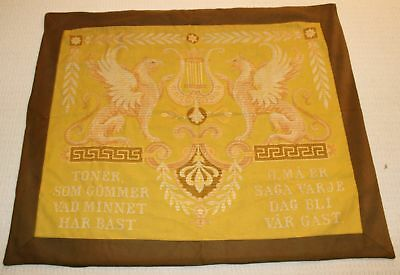 Antique Swedish Woven Wall Textile With Griffins & Sayings