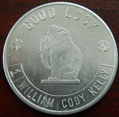 Vintage Spinner Token Republican William Cody Kelly For Council G/luck Elephant!