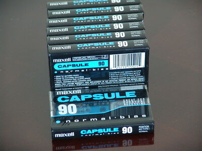 NOS New Sealed 7 Maxell Capsule Normal bias 90 Cassette Tapse - made in Japan