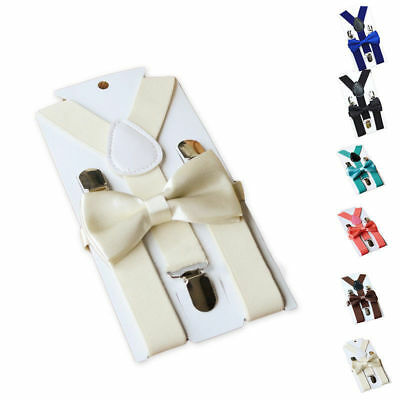 12 Colors Polyester Kids Design Suspender and Bowtie Bow Tie Set Matching Outfit
