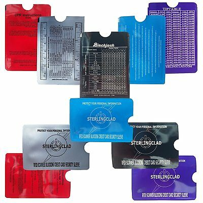 10 RFID Credit Card Protector Sleeves-Handy Reference Charts on Each Sleeve