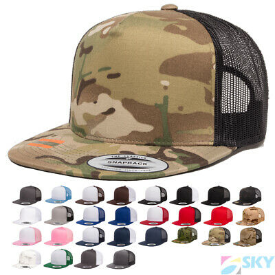 New! Yupoong Five-Panel Classic Trucker Cap Meshback Snapback Hat 6006
