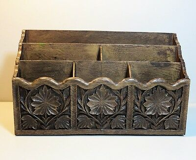Vintage LERNER faux wood DESKTOP ORGANIZER - 6 sections