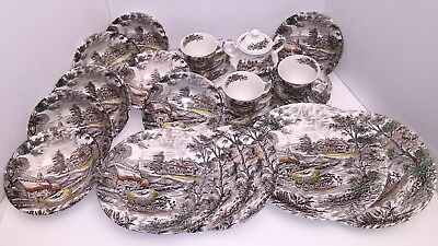 Vintage Yorkshire Multicolor Staffordshire Ironstone Dishes 20 Pc Lot Hay Wagon