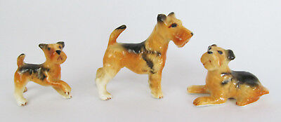 Vintage Miniature Wire-Haired Irish Welsh Fox Terrier Dog Figurine Family Trio