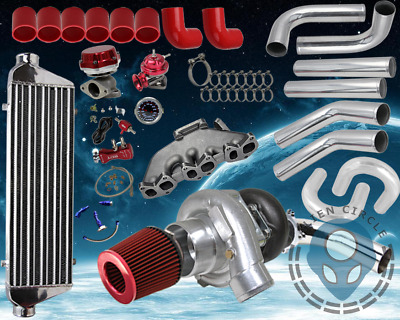 Vw Golf Jetta 2.8L Vr6 12V Full T3/T4 Turbo Kit Piping + Exhaust Manfold Red