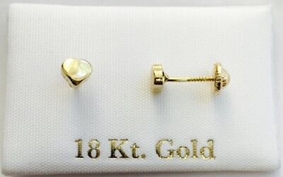 749a3118a19d solid 18k gold Earrings heart shape   aretes para niña oro real 18k corazon