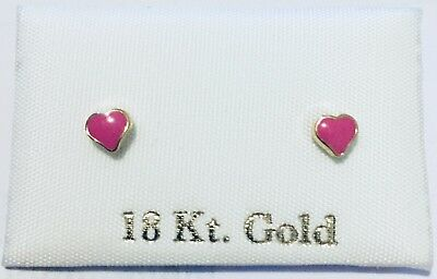 06617bfe8051 Solid 18k real gold stud earrings heart Pendientes aretes oro 18k niña  Corazon
