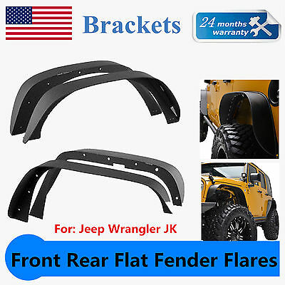 4pcs Steel Front Rear Flat Fender Flares For 2007-2018 Jeep Wrangler JK 2/4 door