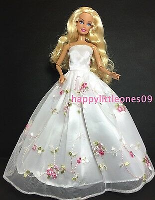 Embroidered Barbie Doll Wedding Party Evening Dress/Clothes/Outfit Floral New