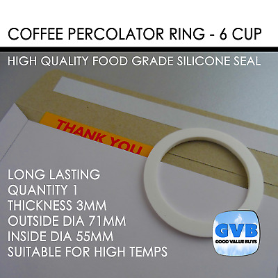 1 Coffee Percolator Seal Silicone Ring Gasket 6 Cup 71Mm X 55Mm Made In Au | Gvb