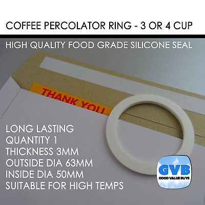 1 Silicone Coffee Percolator Seal Ring Gasket 3 Or 4 Cup 63Mm X 50Mm Au Made Gvb