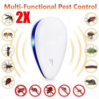2X Ultrasonic Electronic Anti Pest Bug Mosquito Cockroach Mouse Killer Repeller